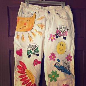 Hand painted Glamper-camper jeans